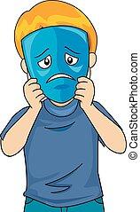 Kid Boy Sad Mask Illustration