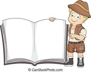 Kid Boy Safari Uniform Book - Illustration of a Cute Little...