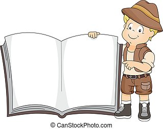 Kid Boy Safari Uniform Book - Illustration of a Cute Little...