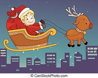Kid Boy Santa Sleigh Reindeer