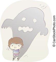 Kid Boy Scary Story Pretend Illustration