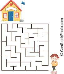Kid Boy School Maze Puzzle Illustration