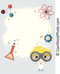 Kid Boy Science Club Frame Background Illustration
