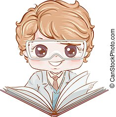 Kid Boy Scientist Book Illustration