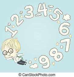 Kid Boy Scientist Fly Numbers Illustration