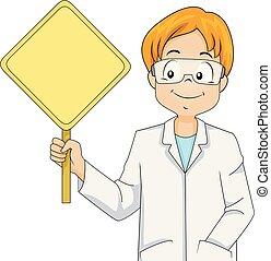 Kid Boy Scientist Warning Sign Blank Illustration