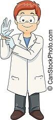 Kid Boy Scientist Wearing Gloves Illustration
