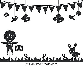 Kid Boy Shadow Story Telling Background Illustration