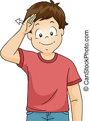 Kid Boy Sign Language Hello Illustration