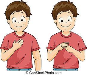 Kid Boy Sign Language My Name Illustration