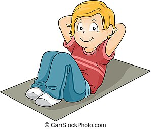 Kid Boy Sit Up Mat - Illustration of a Little Boy Doing Sit...