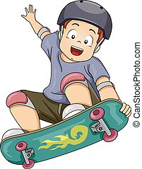 Kid Boy Skateboard Stunt - Illustration of a Little Boy...