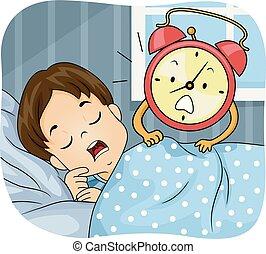 Kid Boy Sleep Alarm Clock Wake Up Illustration