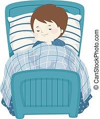 Kid Boy Sleep Bed Illustration