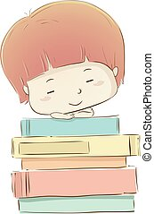 Kid Boy Sleep Books Illustration