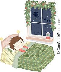 Kid Boy Sleep Christmas Eve Illustration