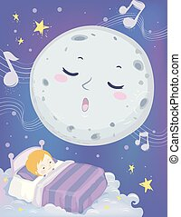 Colorful Mascot Illustration Featuring a a Full Moon Lulling a Cute Little Boy to Sleep