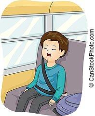 Kid Boy Sleep School Bus Illustration