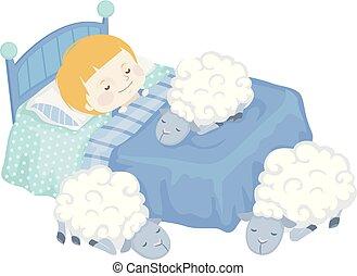 Kid Boy Sleep Sheep Illustration