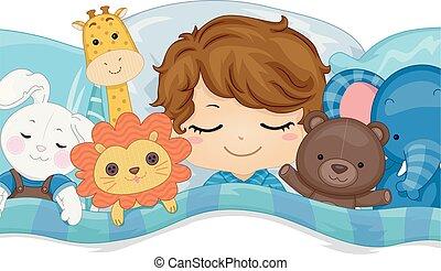 Kid Boy Sleep Stuffed Toys Illustration