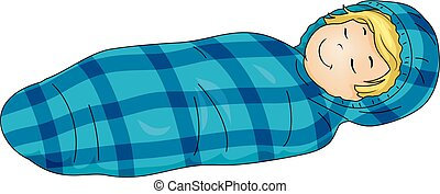 Kid Boy Sleeping Bag Illustration