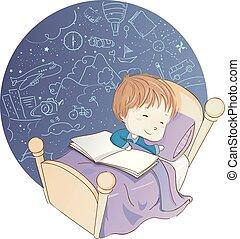 Kid Boy Sleeping Book Dreaming Illustration