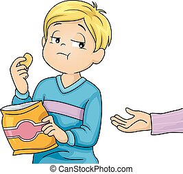 Illustration of a Little Boy Refusing to Share the Snacks He is Eating