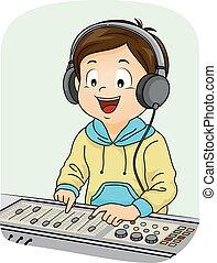 Kid Boy Sound Equalizer Illustration