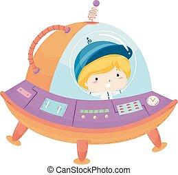Kid Boy Space Ship Illustration