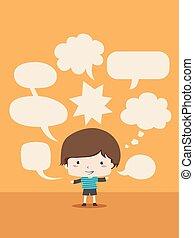 Kid Boy Speech Bubbles Illustration