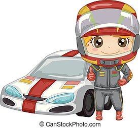 Kid Boy Sport Car Race Illustration