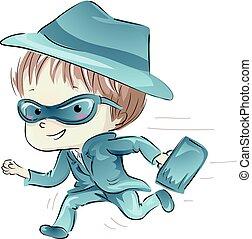 Kid Boy Spy Costume Run - Illustration Featuring a Little...