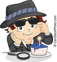 Kid Boy Spy Cup Cake Birthday Illustration