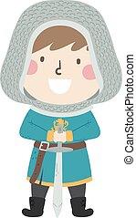 Kid Boy Squire Illustration