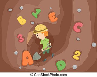 Kid Boy Stickman Dig
