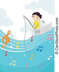 Kid Boy Stickman Musical Note Fishing