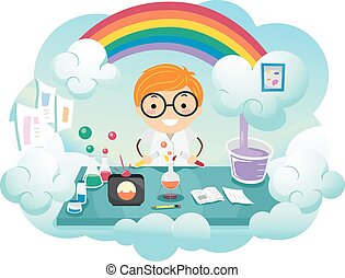 Kid Boy Stickman Rainbow Color Lab