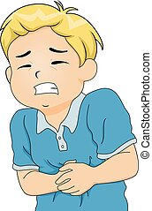 Kid Boy Stomach Pain - Illustration of a Little Boy Hunched...