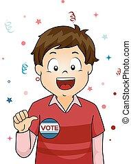 Kid Boy Student Vote - Illustration of a Little Boy Showing...