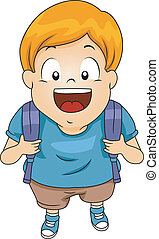 Kid Boy Student with Backpack 3