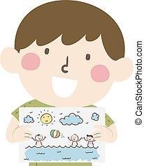 Kid Boy Summer Vacation Drawing Illustration