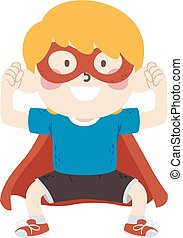 Kid Boy Super Hero Assertive Illustration
