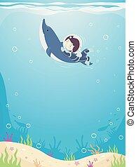 Kid Boy Swim Dolphin Illustration