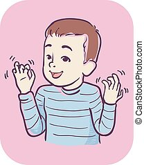 Kid Boy Symptom Hands Stimming Illustration