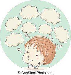 Kid Boy Thinking Clouds Illustration