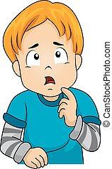 Kid Boy Thinking Gesture