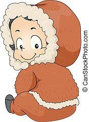Kid Boy Toddler Eskimo Costume Illustration