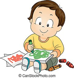 Kid Boy Toddler Paper Crayon Doodle