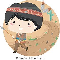 Kid Boy Travel Hunting Illustration