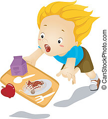 Kid Boy Tumbles Down and Drops Food - Illustration of a...